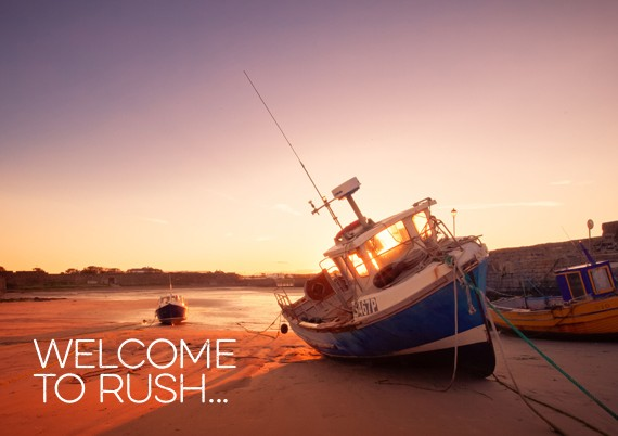 rush harbour at sunset