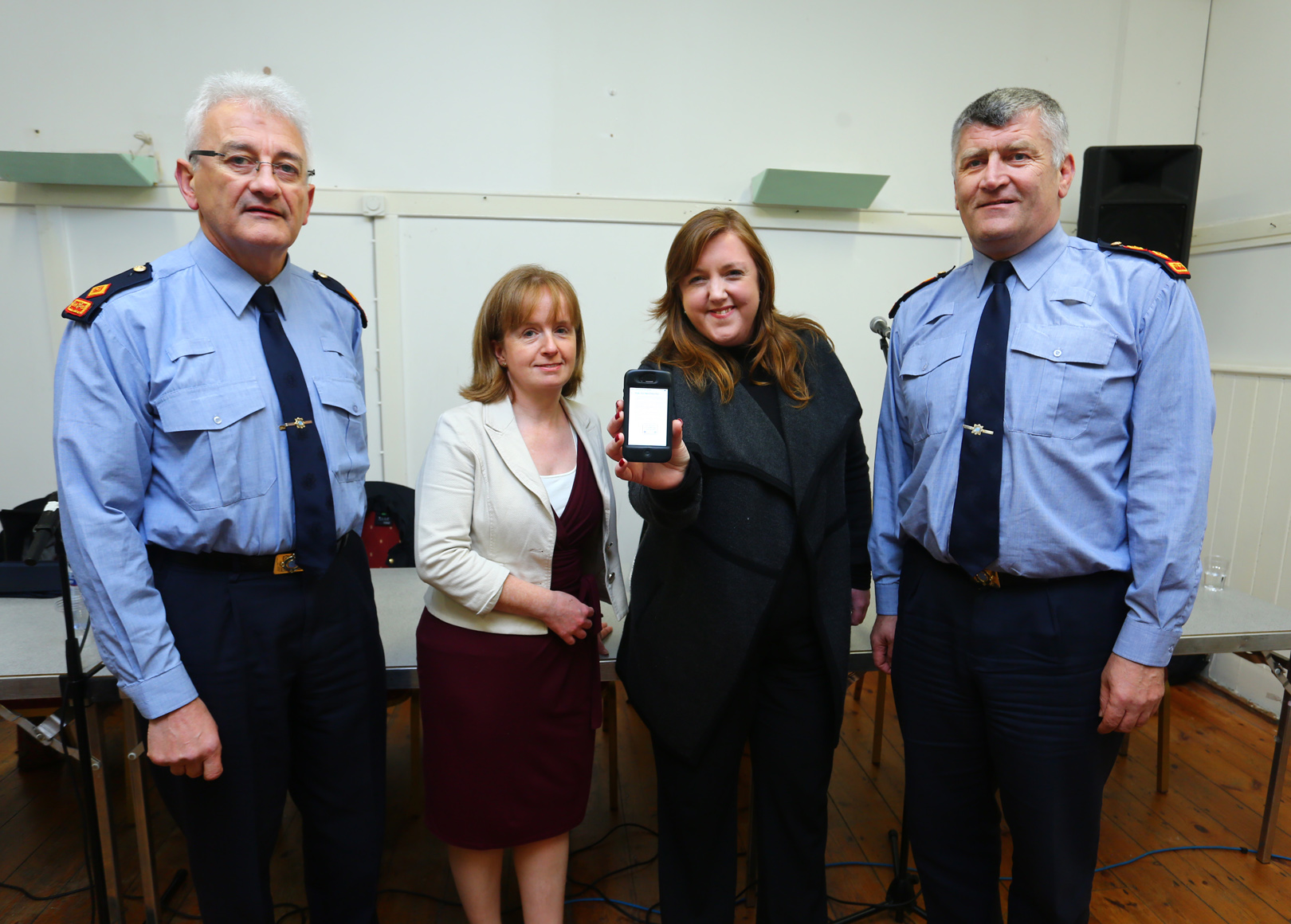 Superintendant Noel Carolan, Fiona Coloe, Lorraine Allen and Chief Superintendant Barry O'Brien at the launch of the Rush Text Alert service. Photo by Darren Kinsella