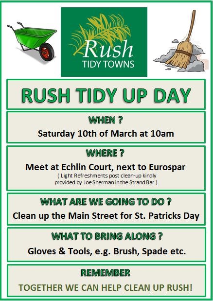 Rush Tidy Up Day - 10th March